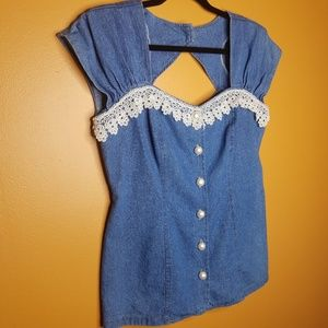 Vintage 80's Country Denim Lace Blouse Size Med